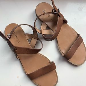 4/$30- Call It Spring Brown Buckle Up Sandal